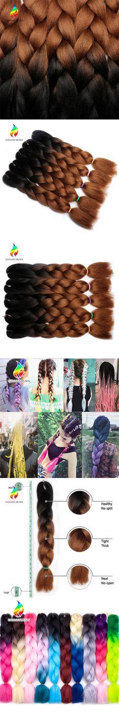 ELEGANT MUSES 24'' Ombre Jumbo Braiding Hair Extensions synthetic braiding hair crochet jumbo braid 100g/pcs