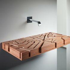 holz waschbecken design gewässerkarte originell