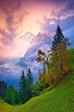 Dawn behind the Eiger, Bernese Alps, Switzerland.