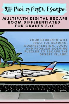 Your students will enjoy practicing their reading skills as they explore the intense storyline on their journey to escape the island. There are multiple differentiated paths and adventures for students to experience in their quest to get off the island, with an abundance of varied interactive activities and challenges to solve along the way! #escaperoom #digitalescaperoom