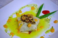 DOMINGOS RESTAURANTE (jantar)  Trouxinha do mar   Crepe recheado com camarão, marisco e linguiça, com manteiga aromatizada