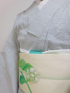 サッカー地ストライプ着物×塩瀬紫陽花柄名古屋帯 の画像|こゆう好み