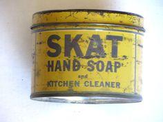 SKAT HAND SOAP Tin Container Hartford CT Vintage Rare SteamPunk #479 #SKAT