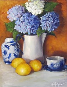 Hydrangea Flower Lemons Painting 14x18 Still Life Canvas Oil Painting by Cheri Wollenberg on Etsy, $250.00
