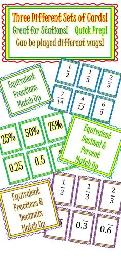 Three Games for practice on equivalent fractions, decimals and percents!  Can be played different ways!  Quick prep!  Just print, cut and play!