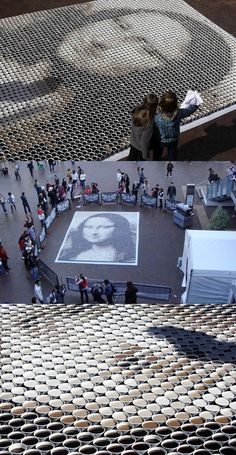 Funny pictures about Mona Lisa Made from 3604 Cups of Coffee. Oh, and cool pics about Mona Lisa Made from 3604 Cups of Coffee. Also, Mona Lisa Made from 3604 Cups of Coffee photos. Mona Lisa, Graffiti, Coffee Art, Coffee Cups, Coffee Shop, Street Art, Instalation Art, 3d Fantasy, Wow Art
