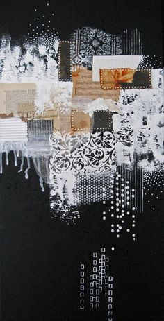 large abstract painting. black and white modern mixed por ancagray