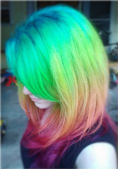 @Mary Elliott - I want to do this! What say you? via Flickr. Slightly frizzy rainbow hair.