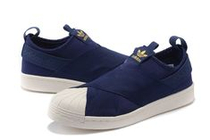 official photos e7d72 f4428 Adidas Superstar Profundo azul Oro hombres mujer Zapatos Slip On Originals  Trainers S81341 venta