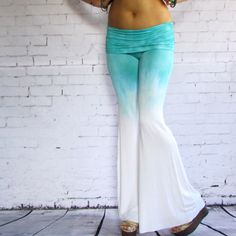 Hey, I found this really awesome Etsy listing at https://www.etsy.com/listing/154247714/mint-ombre-tie-dye-flare-pants-hand-dyed