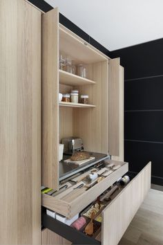 Luxury kitchen cabinetry is all about great design. Just look at the detailing and storage solutions in this cabinet! Rustic Kitchen, Diy Kitchen, Kitchen Storage, Kitchen Decor, Kitchen Ideas, Contempory Kitchen, Awesome Kitchen, Kitchen Shelves, Country Kitchen