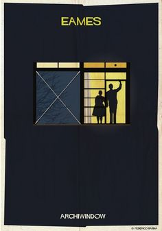 """ARCHITECTURE'S WINDOWS POSTERS -   """"Archi Windows"""" is a series by Federico Babina, Italian designer and architect whose we already have talked about many times. Through 25 illustrations and by following the quote """"The windows are the eyes of architecture"""", he shows the most famous windows created by the biggest architects. To each architect, there is a window and a signature."""
