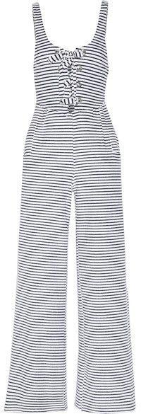 Mara Hoffman - Striped Organic Cotton-blend Terry Jumpsuit - Midnight blue