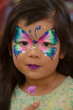 Girl Face Painting, Face Painting Designs, Painting For Kids, Body Painting, Butterfly Face Paint, Butterfly Fairy, Butterfly Design, Animal Face Paintings, Cool Face