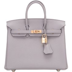 Pre-Owned Hermes Gris Mouette Togo Birkin 25cm Gold Hardware ($21,125) ❤ liked on Polyvore featuring bags, handbags, grey, real leather purses, gray leather purse, kiss-lock handbags, genuine leather handbags and grey leather handbags