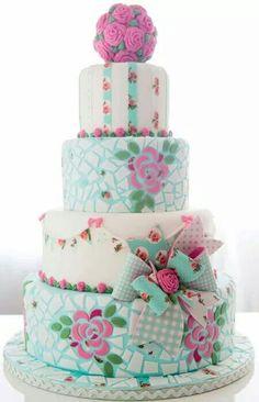 Shabby Chic Mosaics cake four tier fondant floral roses Aqua white pink