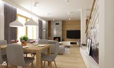 dom Białołęka 200m2 - Średni salon z jadalnią, styl nowoczesny - zdjęcie od Grafika i Projekt architektura wnętrz