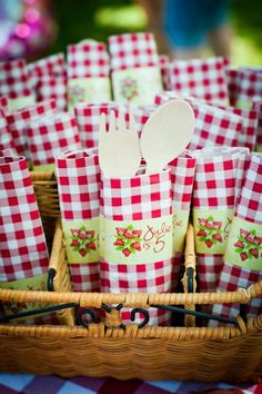 cute way to wrap up utensils at a teddy bear picnic party- red gingham a must!