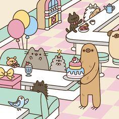 - Pusheen the Cat =^.^= -(notitle) - Pusheen the Cat =^. Funny Drawings, Kawaii Drawings, Easy Drawings, Happy Birthday Friend, Cat Birthday, Funny Birthday, Pusheen Birthday, Pusheen Happy Birthday, Birthday Animals