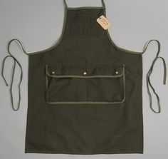 STANLEY & SONS: Mechanic Apron, Olive Drab Duck Canvas