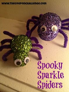 Spooky Sparkle Spiders {Dollar Store Halloween Craft}