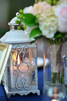 Love these #vintage lanterns used as centerpieces {Thirteenth Moon Photography LLC}