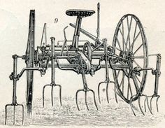1902 German Antique Engraving of Agricultural by bananastrudel Agriculture, Farming, Old Farm Equipment, Horse Drawn, Vintage Tools, Medieval, German, Horses, History
