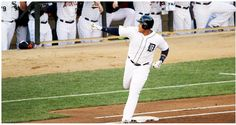 Detroit Tiger, Miguel Cabrera rounding the bases after hitting a home run last night at the 2014 All Star Game.he's pointing at Detroit Tiger, Victor Martinez who was injured & couldn't play. Detroit Michigan, Detroit Tigers, Old English D, Detroit Sports, Tigers Baseball, Ml B, Major League, Girls Out, All Star