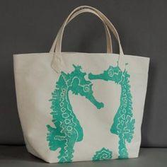 Seahorse Tote Bag - Turquoise - Canvas Tote Bags Handmade, Seahorse, Tote Bag - Seaside Decor Boutique