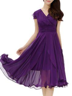 short sleeve Charming V Neck Maxi Dress