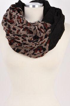 Two Tone Leopard Infinity Scarf (Black) – Bag Brag Co.