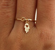 ANY SIZE Hamsa gold ring 14K gold filled heart ring by kookime, $36.00