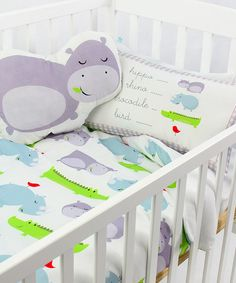 Hippo Crib Bed Sheet, Duvet Cover & Cushion Cover by Mr Fox on #zulily