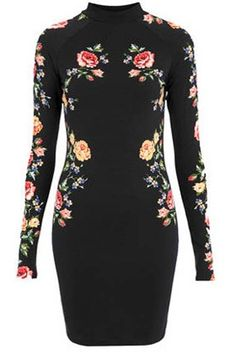 Love this Dress! Gorgeous Floral Design! High Collar Vintage Floral Bodycon Dress. Maybe more loose though