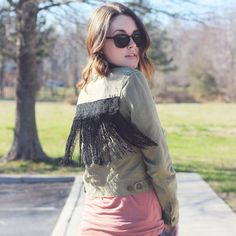 It's amazing how adding some fringe and lace to a jacket breathes new life into it. A simple DIY with a few supplies and a boring jacket.