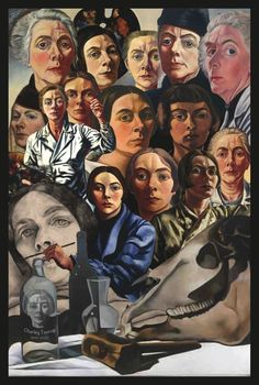 Collage of self portraits of very recognizable Charley Toorop.   From: Dutch Painters from A till Z by Henk van Os, via Behance
