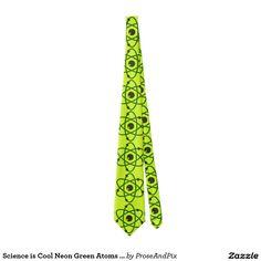 Science is Cool Neon Green Atoms Graphic Art Tie