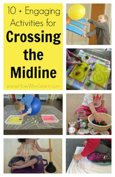 Fabulous Crossing the Midline Activities for Kids! These activities are great for building one of the most important parts in a child's brain - this must be built before children can learn to read and write! These are definitely brain boosting activities Gross Motor Activities, Movement Activities, Kids Learning Activities, Gross Motor Skills, Sensory Activities, Educational Activities, Proprioceptive Activities, Child Development Activities, Sensory Rooms