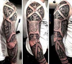 Male Tattoo Ideas Biomechanical Sleeve 3D