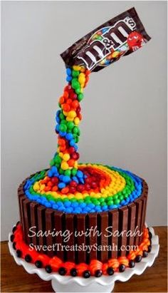 Rainbow Birthday Cake M&M's Kit Kat Cake anti-gravity cake (Rainbow Cake) Candy Cakes, Cupcake Cakes, Torta Kit Kat, Kit Kat Cakes, Bolos Naked Cake, Gravity Defying Cake, Anti Gravity Cakes, Rainbow Food, Cake Rainbow