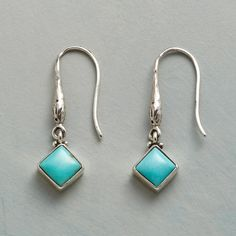 """SYLVA EARRINGS--Shapely French wires handcrafted of sterling silver showcase dangling turquoise cabochons. Earrings created exclusively for Sundance. 1-1/8""""L."""
