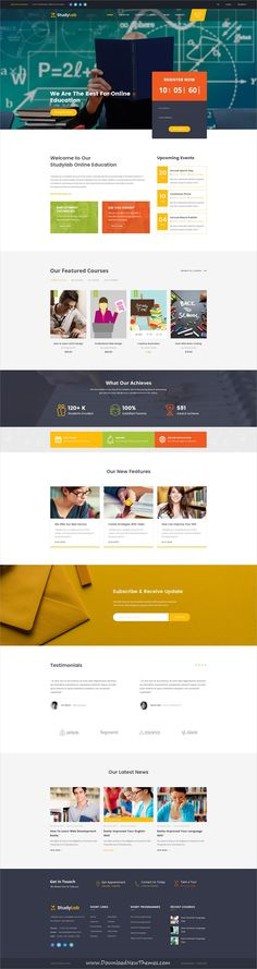 StudyLab is clean and modern design PSD #template for #edtech, kindergarten, #school and online education services website with 12 layered #PSDfiles to live preview & download click on image or Visit