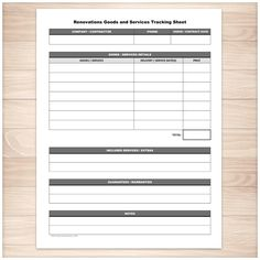 Nice Renovations Goods And Services Tracking Sheet   Printable Photo