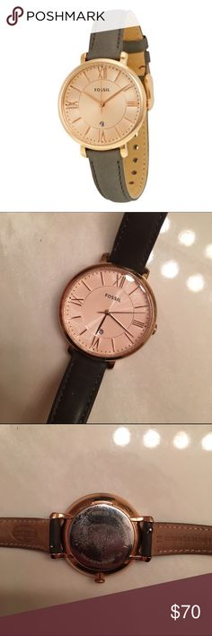 Fossil Jacqueline Watch (Rose Gold) Gently used Fossil watch. Fossil Jacqueline Watch, Gold Face, Rose Gold Watches, Fossil Watches, Band, Gray, Accessories, Things To Sell, Jewelry