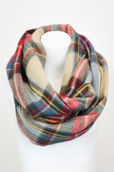 Plaid Infinity Scarf-Taupe