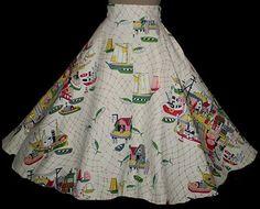 50s Fishing Village Novelty Print Circle Skirt