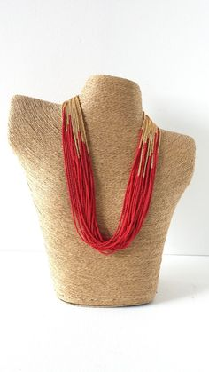 Red and gold necklace, christmas necklace,red necklace,holidays gifts,statement necklace,boho,multistrand,beaded necklace,seed bead necklace...
