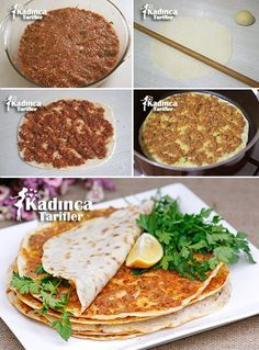 How to Make Lahmacun in a Pan? - Womanly Recipes - Delicious, Practical and Delicious Food Recipes Site - Making Lahmacun in Pan - Meat Recipes, Snack Recipes, Cooking Recipes, Pizza Recipes, Minced Meat Recipe, Gozleme, Egyptian Food, Good Food, Yummy Food
