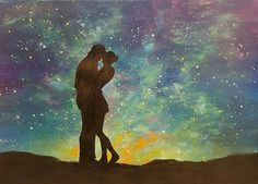 """Easy Galaxy Acrylic Painting """"Lovers under a Starry Night Sky"""" Beginner Step by Step Tutorial LIVE Watercolor Art Landscape, Watercolor Art Lessons, Watercolor Art Diy, Watercolor Art Paintings, Simple Acrylic Paintings, Acrylic Painting Tutorials, Painting Videos, Couple Painting, Love Painting"""