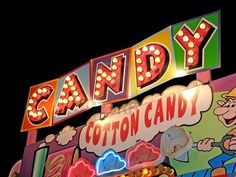 Photo about Cotton candy carnival sign in light bulbs & neon. Image of event, color, festival - 4162376